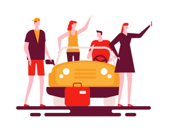 Friends Trip Illustration