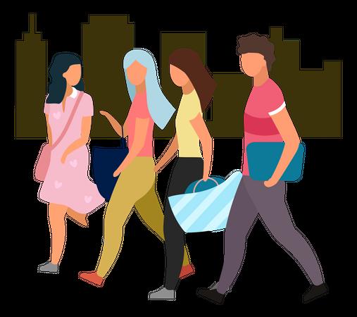 Friends walking together Illustration