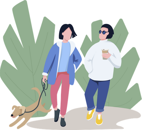 Friends walking with pet Illustration