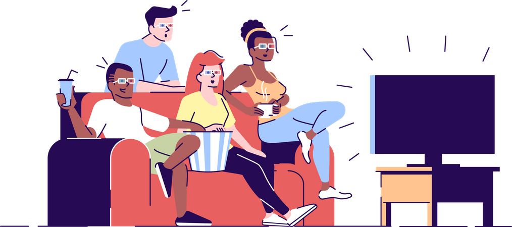 Friends watching 3d film Illustration