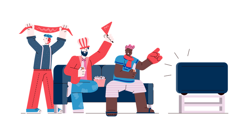 Friends watching Sports on TV Illustration
