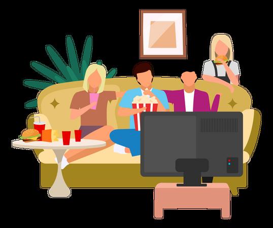 Friends watching TV Illustration