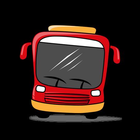 Front side of Red Transportation bus Illustration