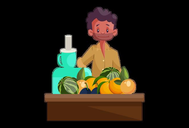 Fruit Juice Vendor Illustration