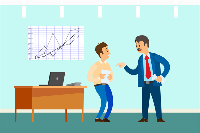 Frustrated boss shouting on employee Illustration