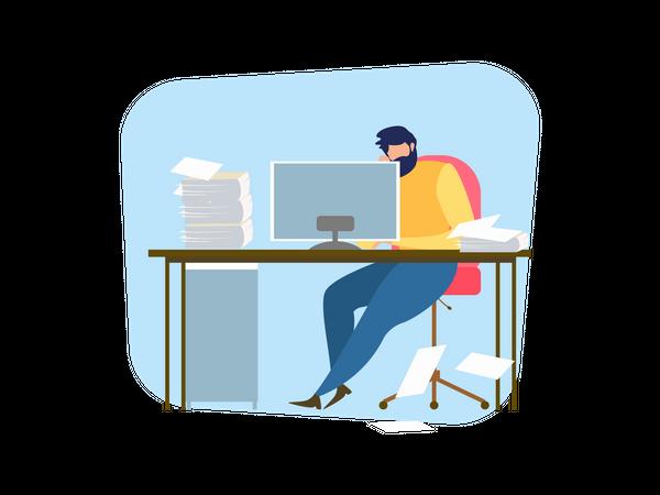 Frustrated business man at office desk Illustration