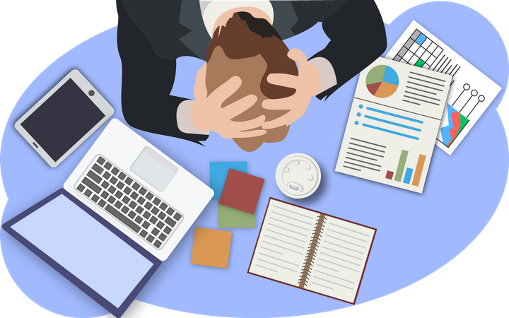 Frustrated Businessman with top view Illustration