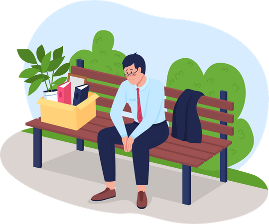 Frustrated fired man sitting on bench Illustration