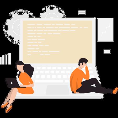 Full stack developers Illustration