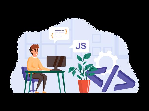 Full stack javascript developer at office Illustration