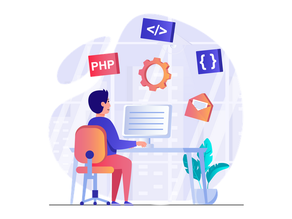 Full stack php developer Illustration