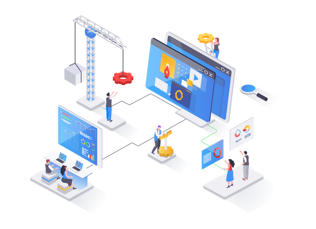 Full stack software development company Illustration