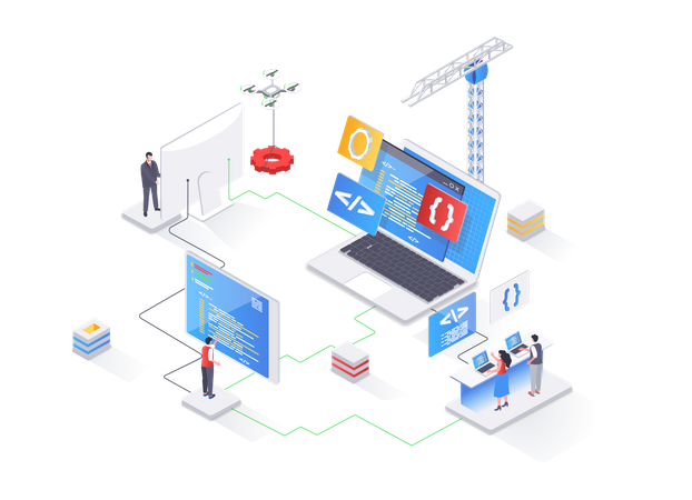 Full stack software development, engineering, programming Illustration