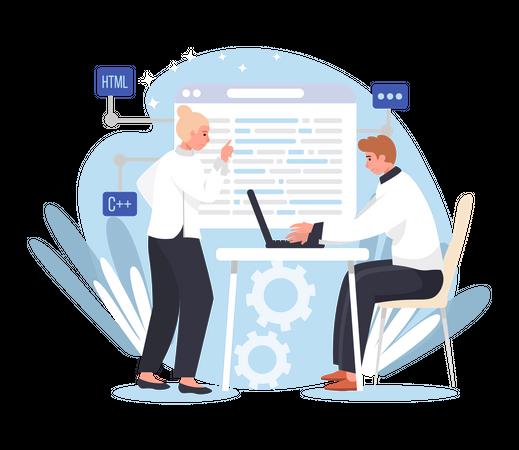 Full stack web developer Illustration