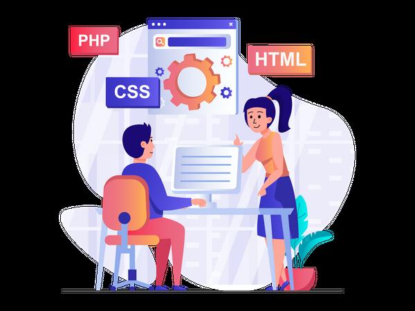 Full stack web developers Illustration