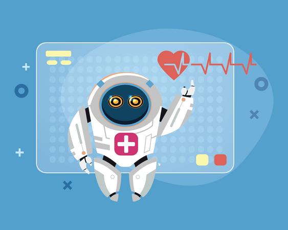 Future Heart rate Monitoring Robot Illustration
