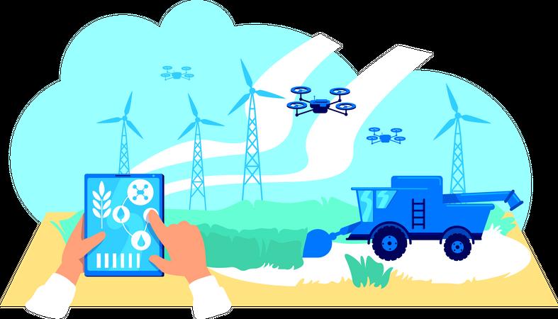 Futuristic agribusiness Illustration