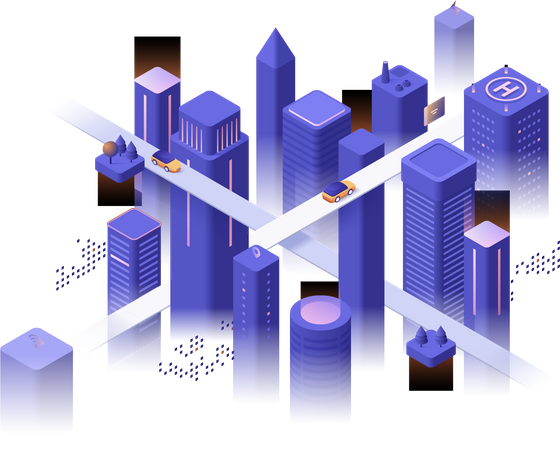 Futuristic down town at evening, glowing buildings and skyscrapers, road intersection or crossroad Illustration