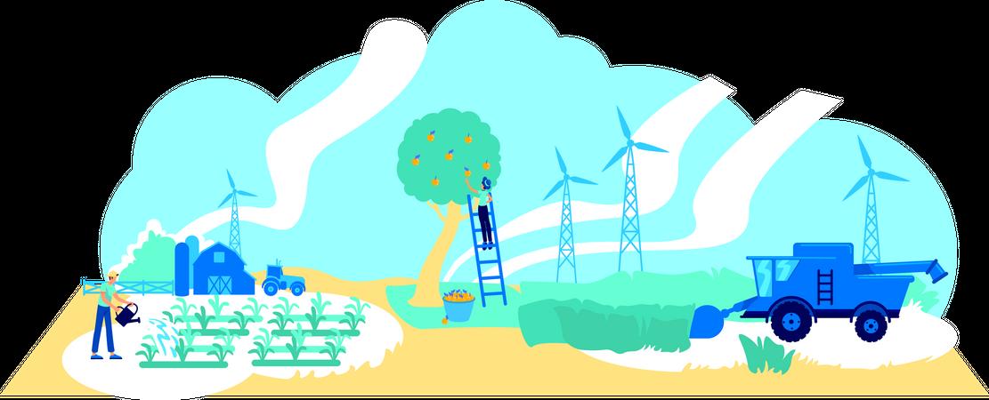 Futuristic farming Illustration