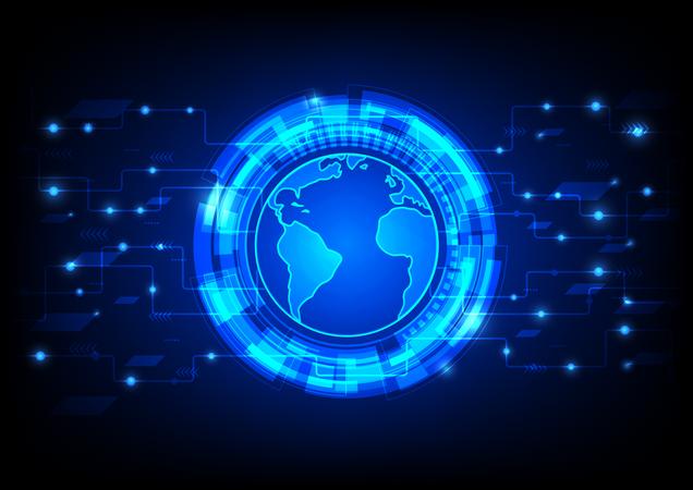Futuristic Global User Interface HUD, Hologram With Circuit Line Illustration