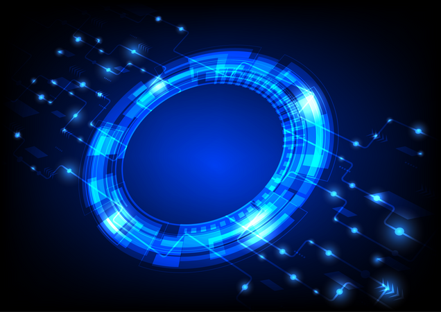 Futuristic User Interface HUD, Digital Circle With Circuit Line Illustration