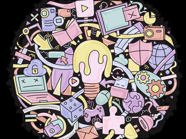 Gadgets Doodle Illustration