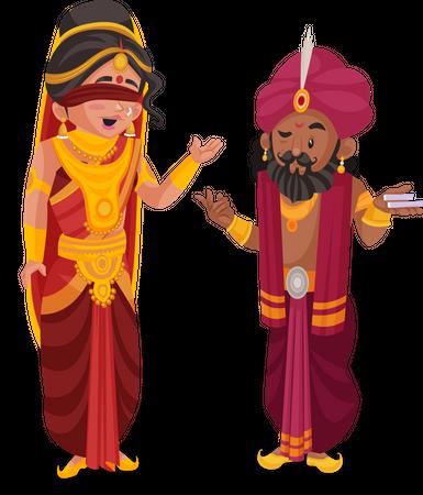 Gandhari and Shakuni Illustration