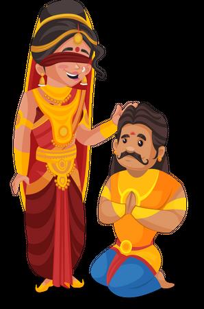 Gandhari giving blessing to Duryodhana Illustration