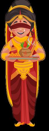 Gandhari holding aarti plate Illustration