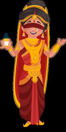 Gandhari holding bottle Illustration