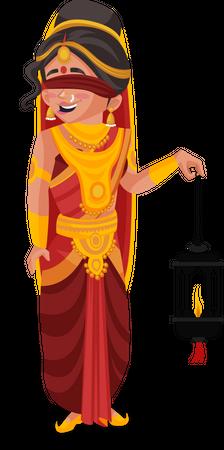Gandhari holding lamp Illustration