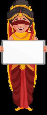 Gandhari holding white board Illustration