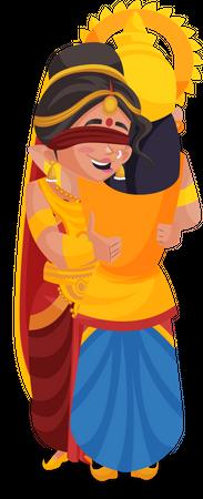Gandhari hugging Duryodhana Illustration