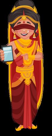 Gandhari showing mobile Illustration