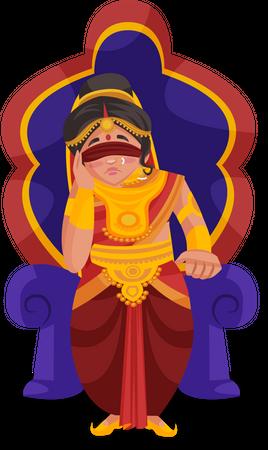 Gandhari sitting on throne Illustration
