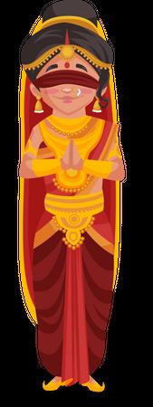 Gandhari standing in namaste pose Illustration