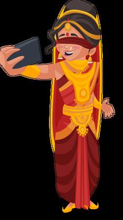 Gandhari taking selfie Illustration