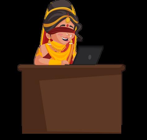 Gandhari working on laptop Illustration