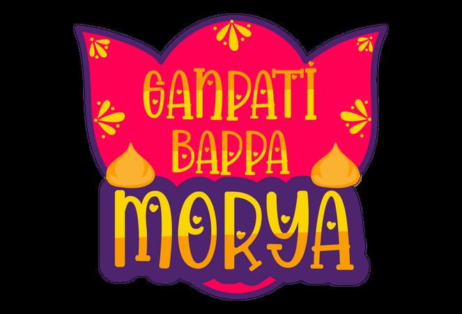 Ganpati bappa morya badge Illustration