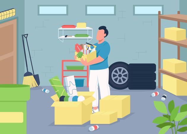 Garage cleaning Illustration