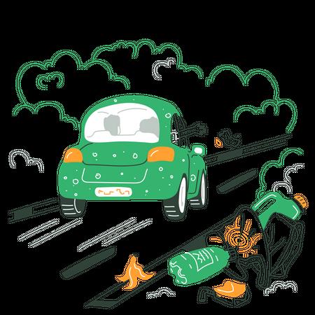 Garbage On The Road Illustration