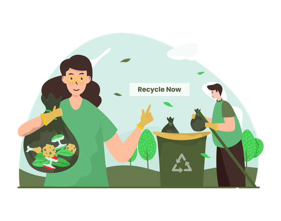 Garbage Recycling Illustration