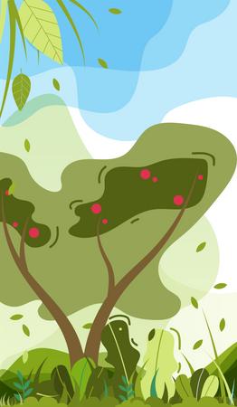 Garden scene Illustration