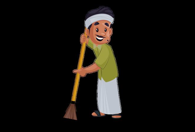 Gardener cleaning garden Illustration