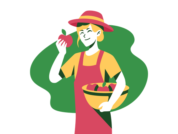Gardener holding apples basket Illustration
