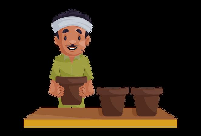 Gardener holding pot Illustration