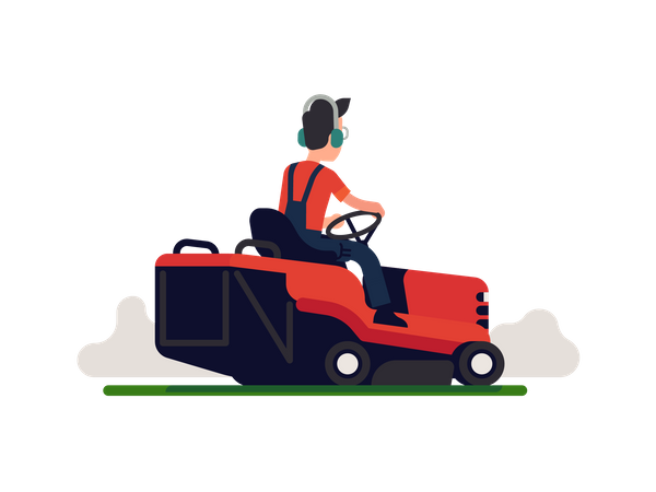 Gardener using lawn maintenance machine wearing headphone Illustration