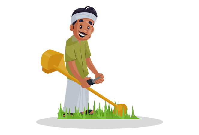 Gardner cutting grass Illustration