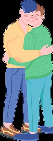 Gay couple hugging Illustration