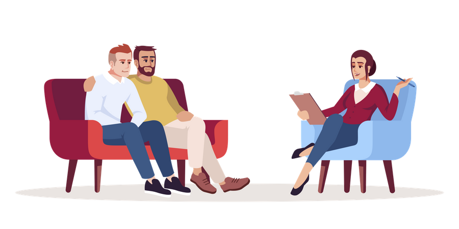 Gay couple with female doctor at clinic Illustration
